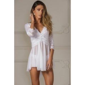 Camisola curta de manga longa em renda e tule branco