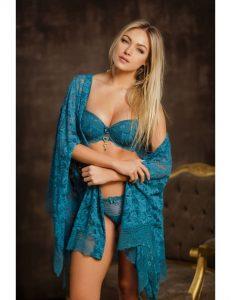 Robe feminino curto de renda azul
