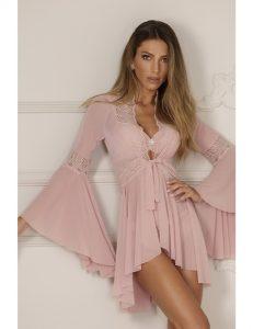 Robe feminino curto de tule rosa bebê