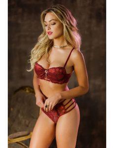 Conjunto de renda vermelho da Sexy Vinte e Oito para chá de lingerie