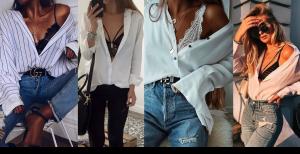 Lingerie à mostra: camisa branca