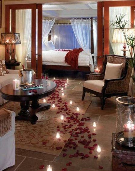 Decoração romântica: quarto decorado com velas