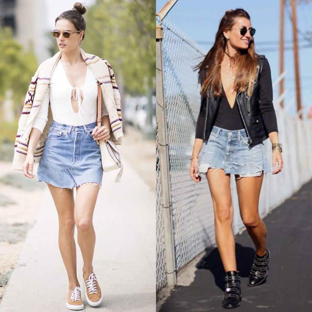 Como usar maiô como body - looks com saias jeans