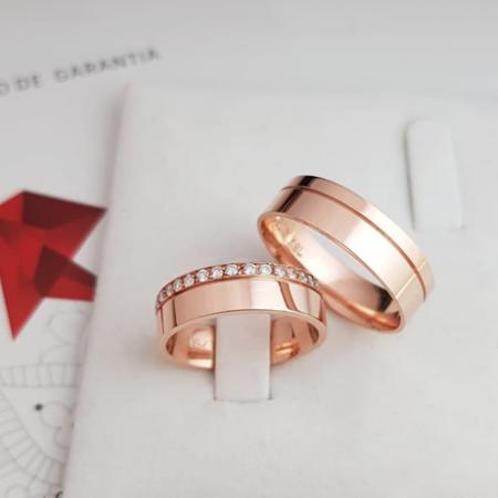 Aliança de casamento - grossas de ouro rose