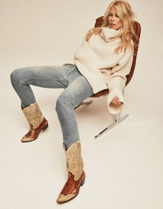 Botas texanas: calça jeans