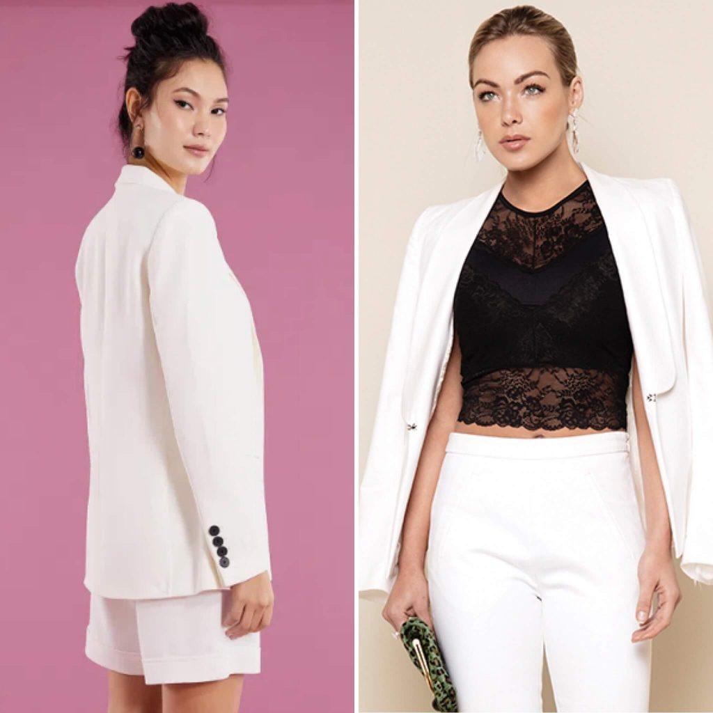 Usar lingerie com blazer branco